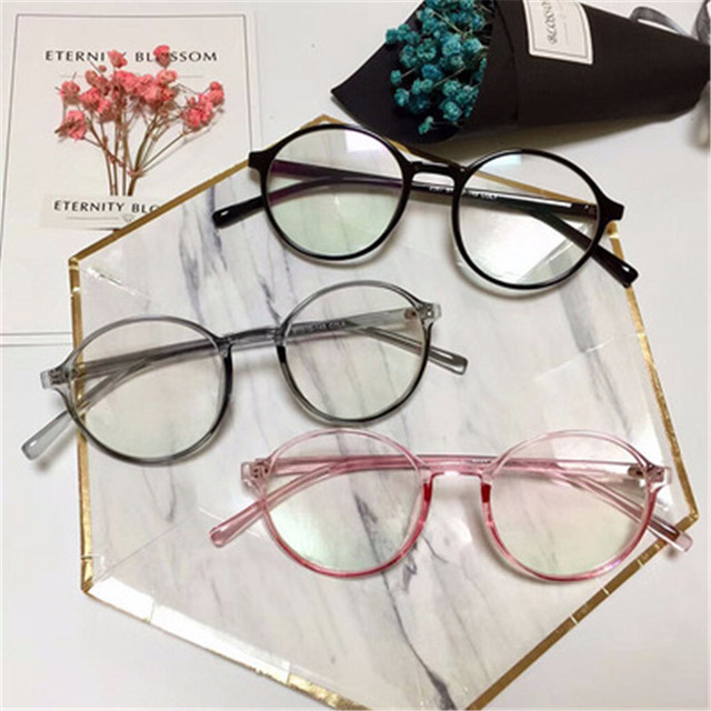 48f4541c9d9 2018 new retro Women round glasses transparent frames fashion wild with  myopia flat mirror student literary men eyeglasses frame