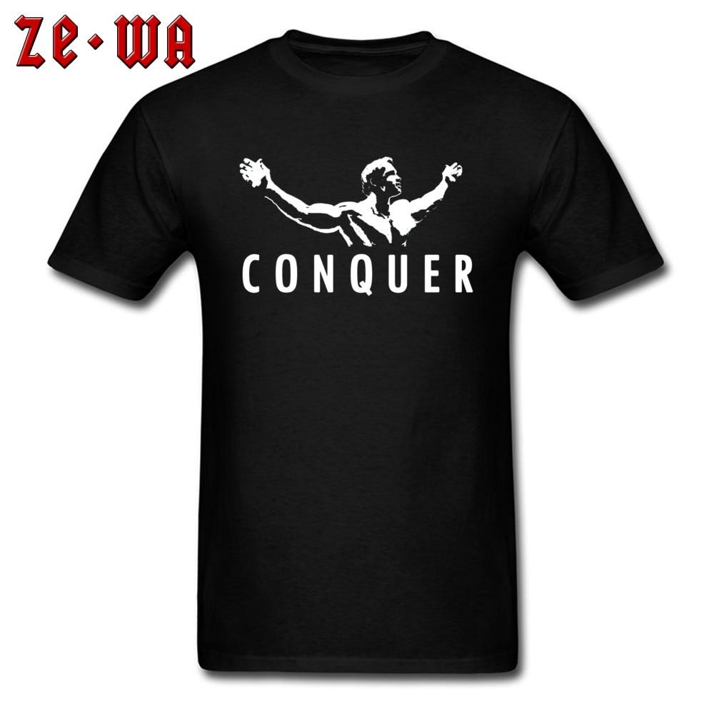 Крутая Мужская футболка, Арнольд Шварценеггер, завоевывает, Мужская футболка с буквенным принтом, простой дизайн, футболка, подарок на день отца, топы, хлопковые футболки с принтом