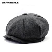 Beret Men Women Wool Tweed Hats Newsboy Gatsby Octagonal Cap Herringbone Vintage British Style Winter Spring