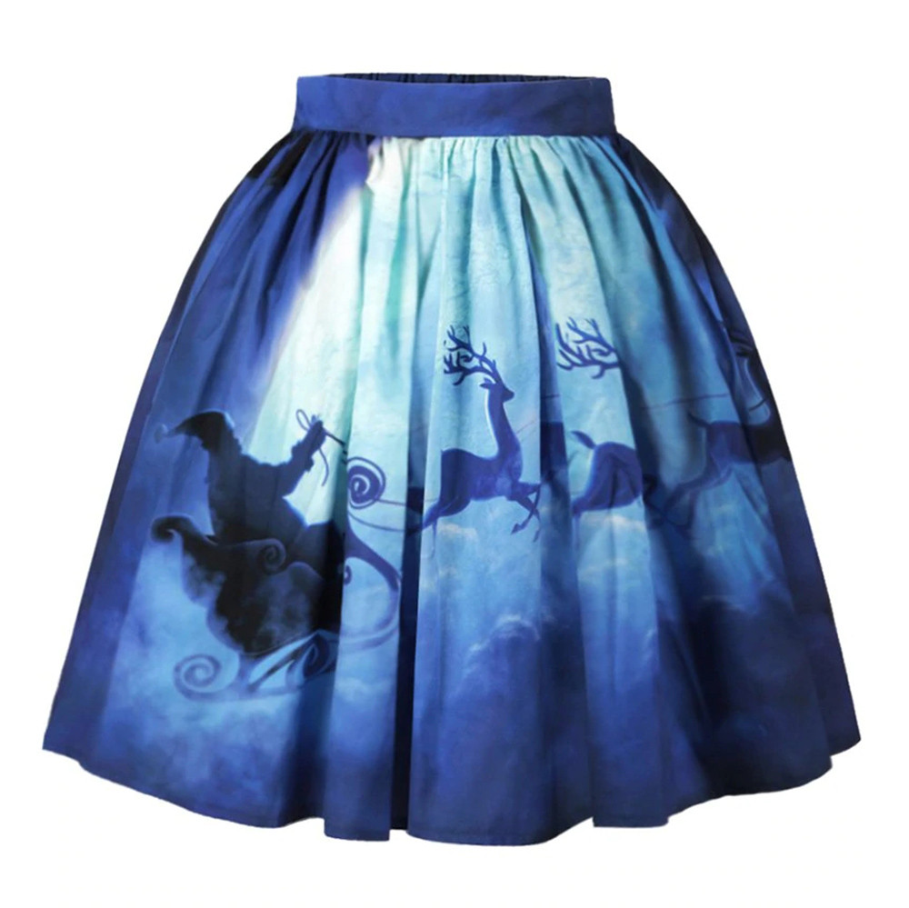 Women Christmas Skirt  Sexy  Santa Printed Swing Performance A-Line Loose Skirt S.26