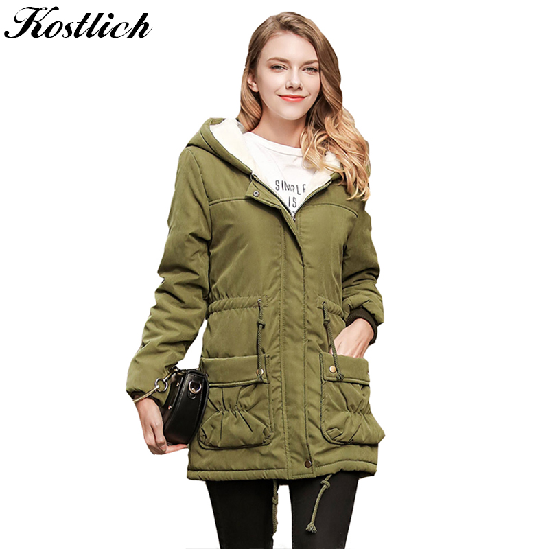 Kostlich Solid Color Pockets Long Cotton Coat Women Long Straight Sleeves Thick Slim Coat Streetwear  S-2XL With Hat