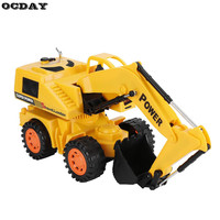 5CH RC Car Wheel Excavator With LED Remote Control Super Electric Wire Control Monster Vehicle 4
