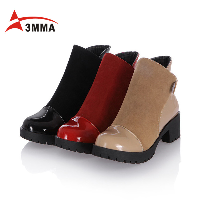3MMA Handmand Large Size Black Red Chunky Heel Patchwork Ankle Boots for Women Black Hook Booties