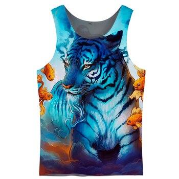 ¡Novedad! Camiseta sin mangas Cloudstyle con diseño de Tigre y animales, chaleco vibrante para hombre, prendas de vestir de verano, estilo Harajuku, chaleco 3D de talla grande 5XL