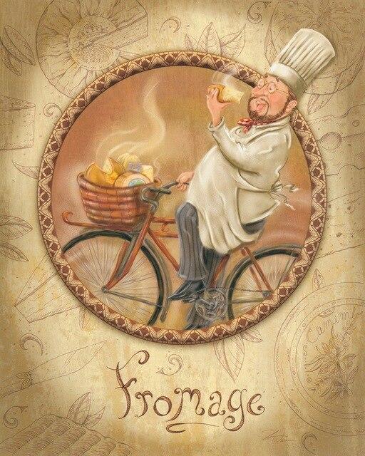 cuisine à vélo bande dessinée peinture à l'huile sur toile ... - Peinture Sur Toile Pour Cuisine