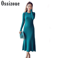 Ossizoue Women Autumn Winter Long Vestido Vintage Simple O Neck Slim Dresses Big Swing Sexy Korean