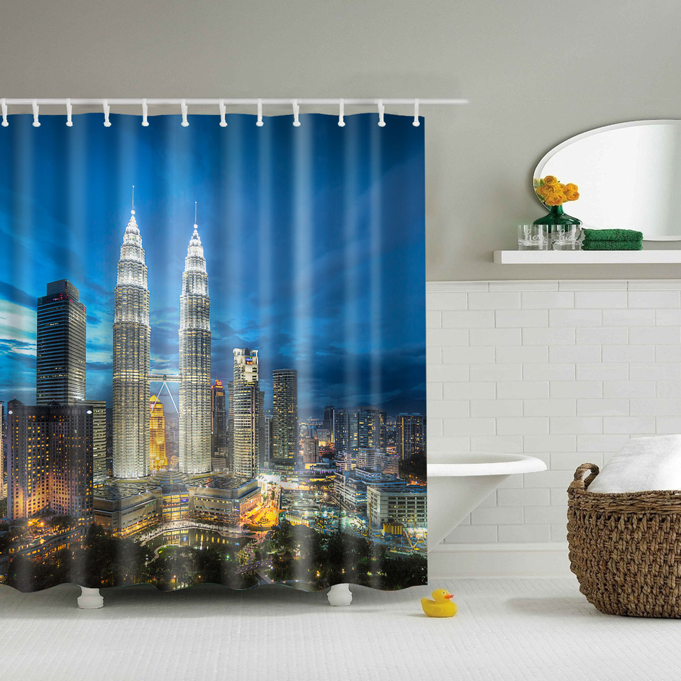 Fashion City Night Shower Curtains Waterproof Bathroom Curtains Polyester  180x180cm 150x180cm Decoration With Hooks(China