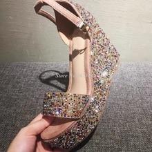 Elegant Gold Silver Crystal Embellished Women Wedge Sandals Ankle Strap Peep Toe High Platform Wedge Sandals Shoes Summer 2019