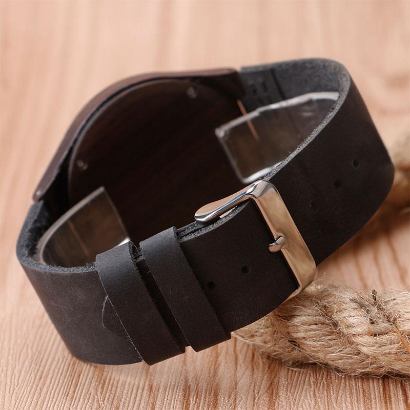 Luxus természet fából készült óra minimalista bambusz fekete - Férfi órák - Fénykép 4