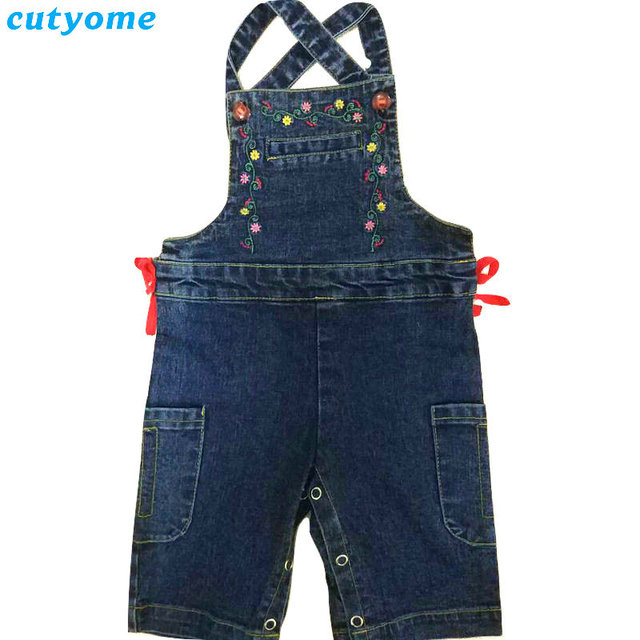 1dba196fd3ab Cutyome Newborn Baby Boys Girls Denim Rompers Kids Embroidered Floral Jeans  Overalls Infant Sleeveless Casual Jumpsuits Clothes