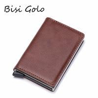 BISI GORO Vintage Genuine Leather Antitheft Men Women Credit Card Holder Blocking Rfid Card Wallet Aluminum Metal Purse
