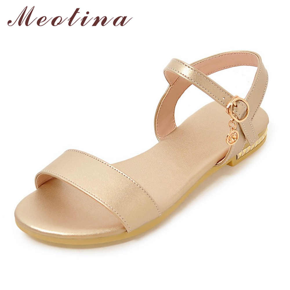 Meotina Shoes Women 2018 Summer Sandals Flat Sandals Open Toe Buckle Causal Ladies Shoes Fashion Women Flats Gold Sliver 9 10