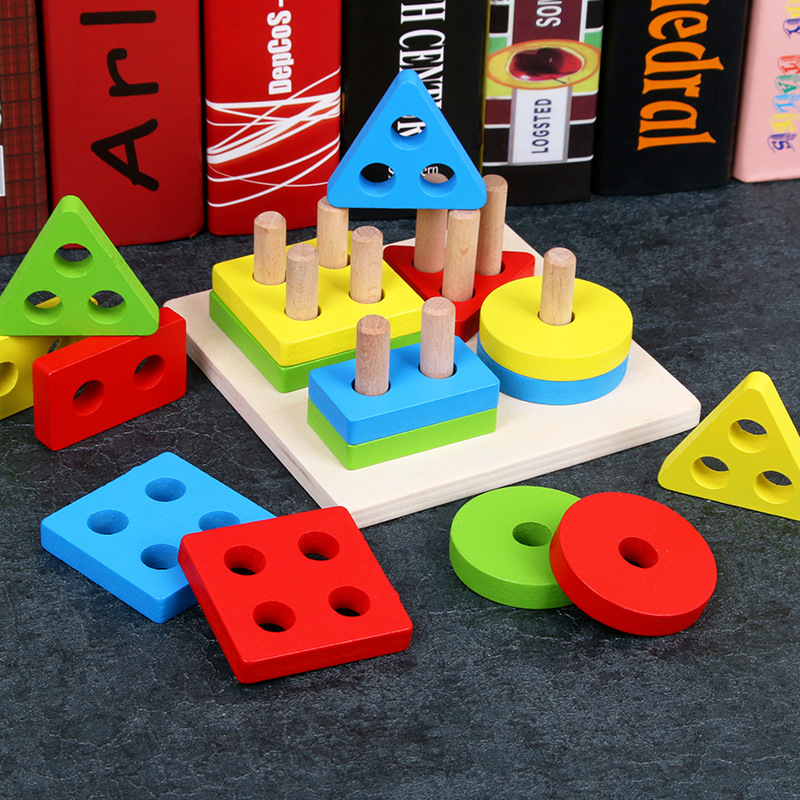 Logwood Baby Wooden Montessori Education Toys Geometry Intelligence Board Teaching Leaning Match Toys For Children