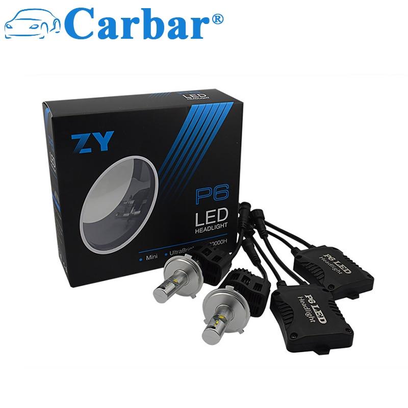 Carbar#2Pcs P6 H4 New Update Car LED Headlight Bulb-H4 Hi/Lo Beam Good Quality 55W 5200LM 6K 5K 4K LED Headlamp Lights Canbus H4
