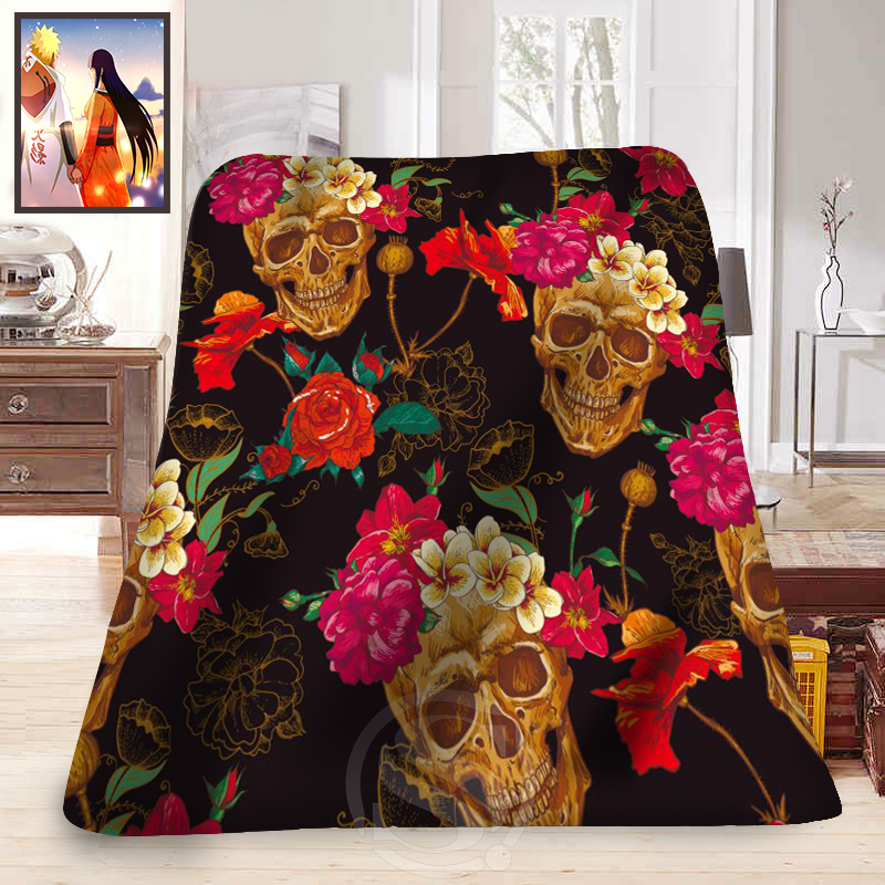 ФОТО Hot sale Fashion Blanket Flowers Sugar Skull Printed  Soft Fleece Blanket comfortable Blanket Sofa Blanket