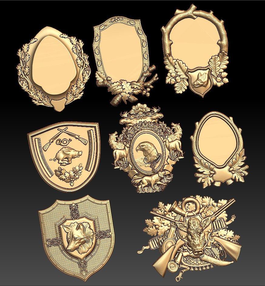 8 Pc Hunting Medallions3d STL Model For CNC Router Engraver Carving Machine Relief Artcam Aspire CNC Files (ES)