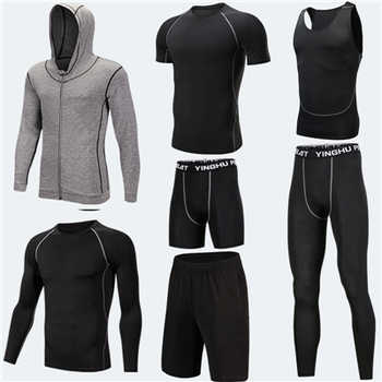 7PCS Compression Set Men Sport Suits Running Training Set Quick Dry Basketball Jogging Compression Sport Set Gym Fitness Clothes