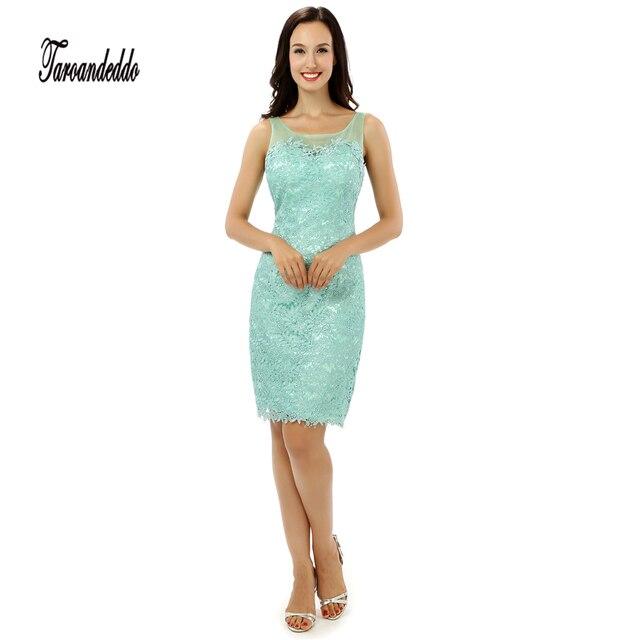 c624a4b67 Escote redondo sin mangas menta verde corto longitud vestidos de fiesta  ilusión espalda corto vestido de