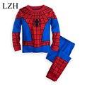Conjuntos de Roupas crianças de Super-heróis Capitão América IronMan Spiderman Pijamas Do Natal Do Bebê + Calças Meninos Esporte Terno Roupa Dos Miúdos Definir