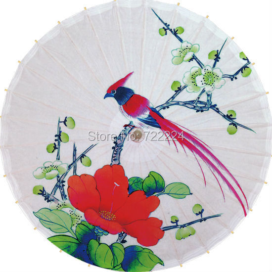 Dia 84cm rainy parasol oilpaper umbrella chinese handmade craft  flowers with bird dance props waterporrf props women umbrella golden parasol