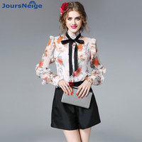 Women Satin Blouse Shirt 2017 New Autumn Ladies Retro Long Sleeve Bow Tie Slim Real Silk