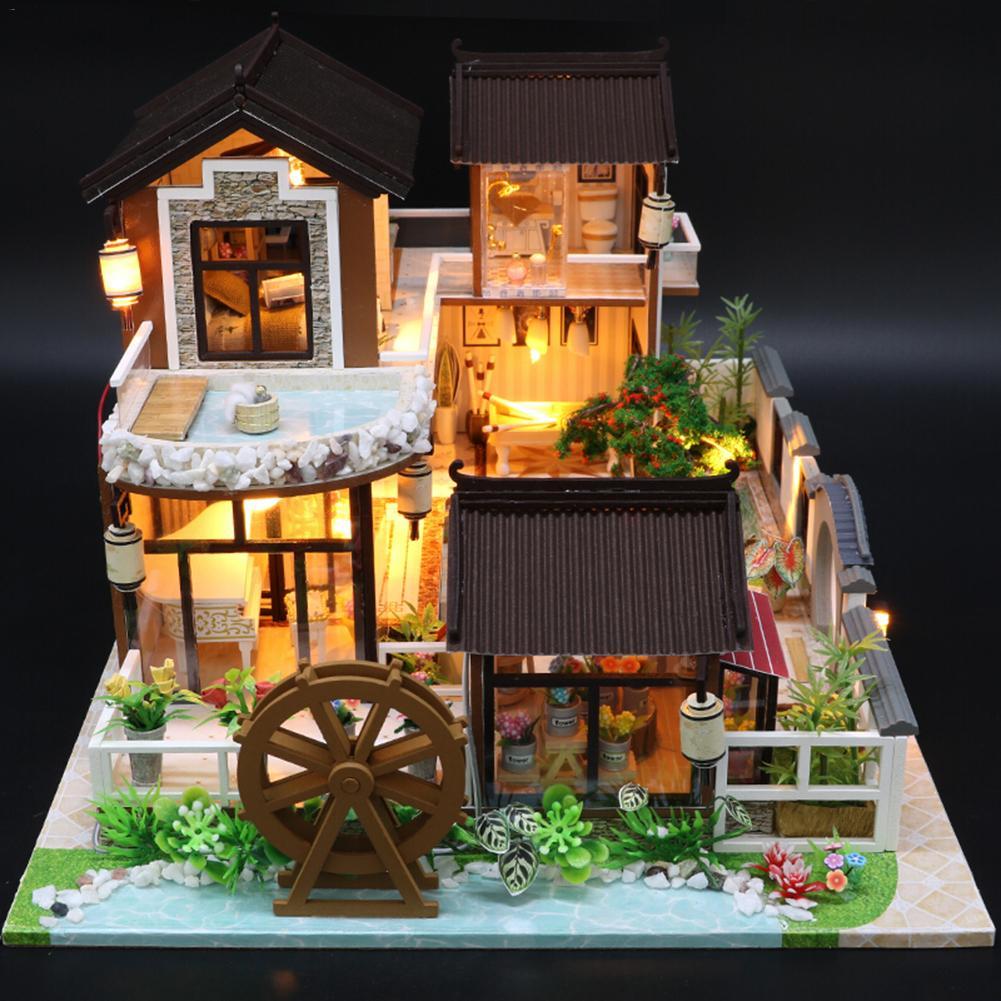 Bricolage maison de poupée jouet en bois Miniatura maisons de poupée Miniature maison de poupée jouets avec meubles LED lumières cadeau d'anniversaire