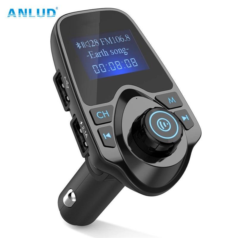 Anlud coche Bluetooth inalámbrica Mp3 reproductor kit manos libres de coche transmisor FM A2DP 5 V 2.1A cargador USB pantalla LCD Coche modulador de FM