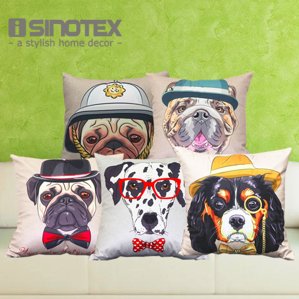 Cushion Cover Animal French Bulldog Pug Husky Dog Pillowcase Polyester&Linen Car Pillow Covers Decorative Home Decor 1PCS/Lot