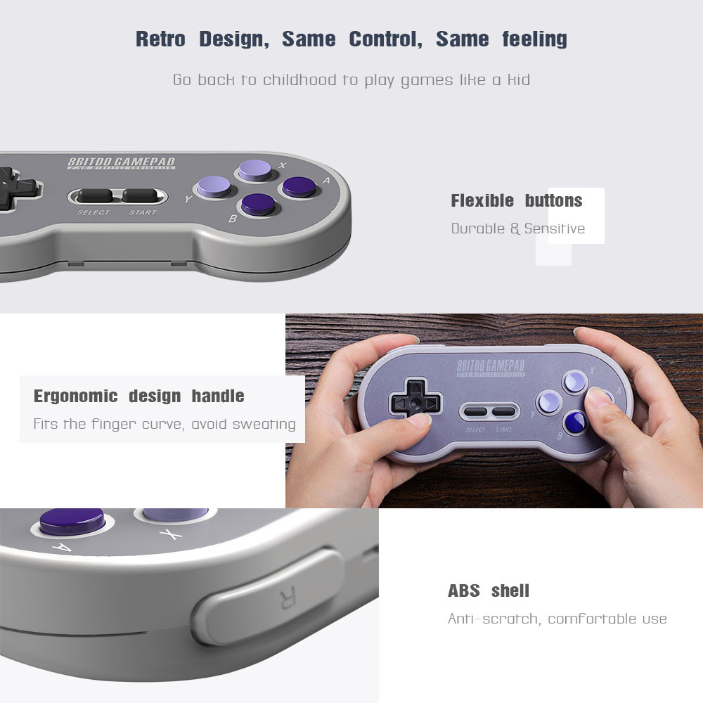 8BitDo SN30 Controller Wireless Gamepad with 2.4G NES Receiver for Windows Android PC Mac 10