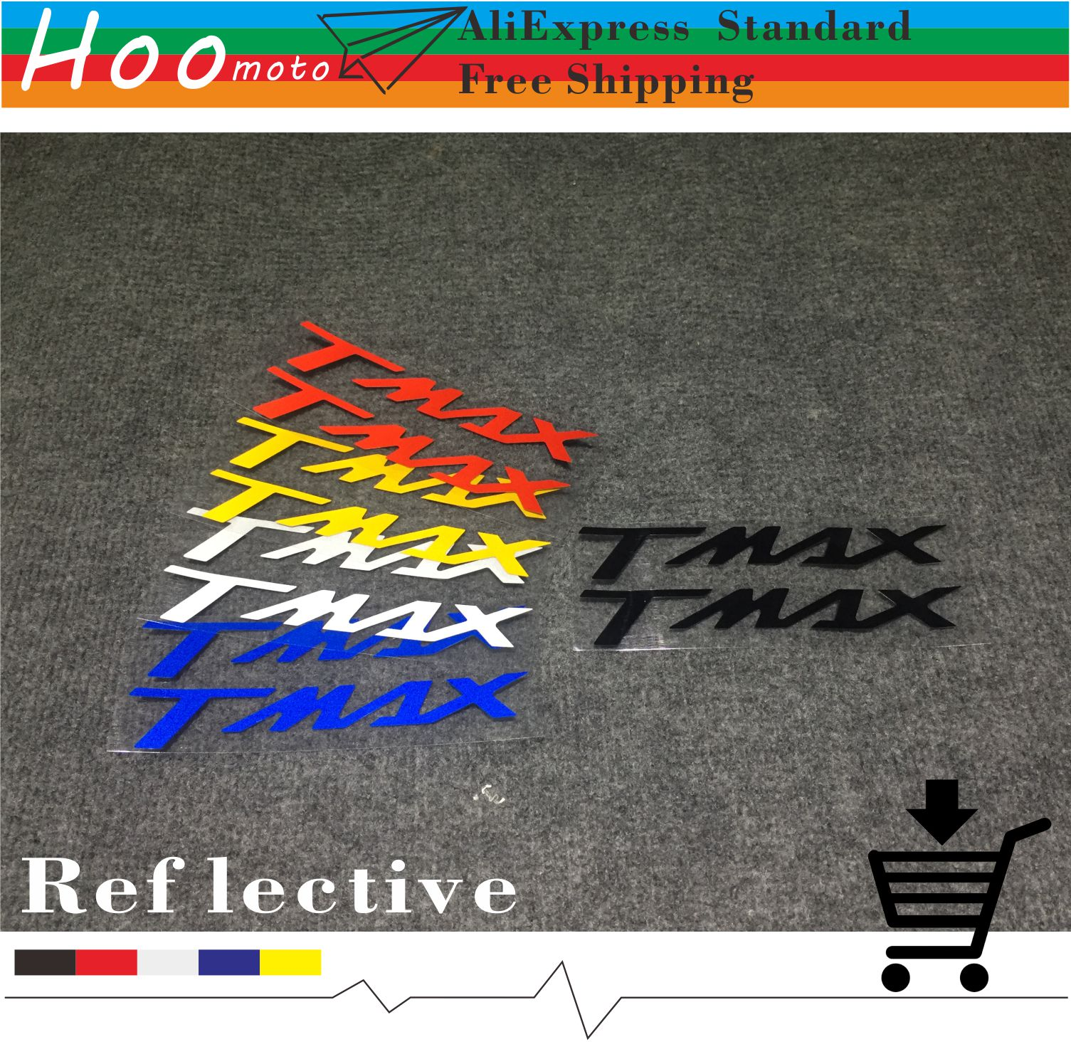 1pcs 16cm=6.3in For YAMAHA TMAX 530 T-MAX 530 TMAX530 500 Reflective Stickers And Decals Car-styling Motorcycle MOTO DIY Label