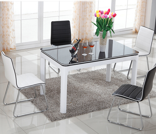 Moderno minimalista negro y blanco pintado de madera mesas for Sillas de madera ikea