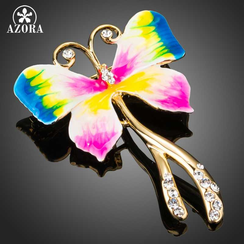 Azora Multicolor Oil Painting Pola Kupu-kupu Bening Austria Berlian Imitasi Warna Emas Pin Bros TP0037