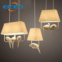 (EICEO) Modern countryside style LED pendant light E14 lampholder metal/cloth art deco lamp novelty Indoor birdcage light