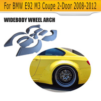 Car Wheel fender flares Cover Mudguards Molding Trims Arch Wheel Eyebrow Mud Flaps For BMW E92 M3 Coupe 2 Door 2008 2012 Grey PU