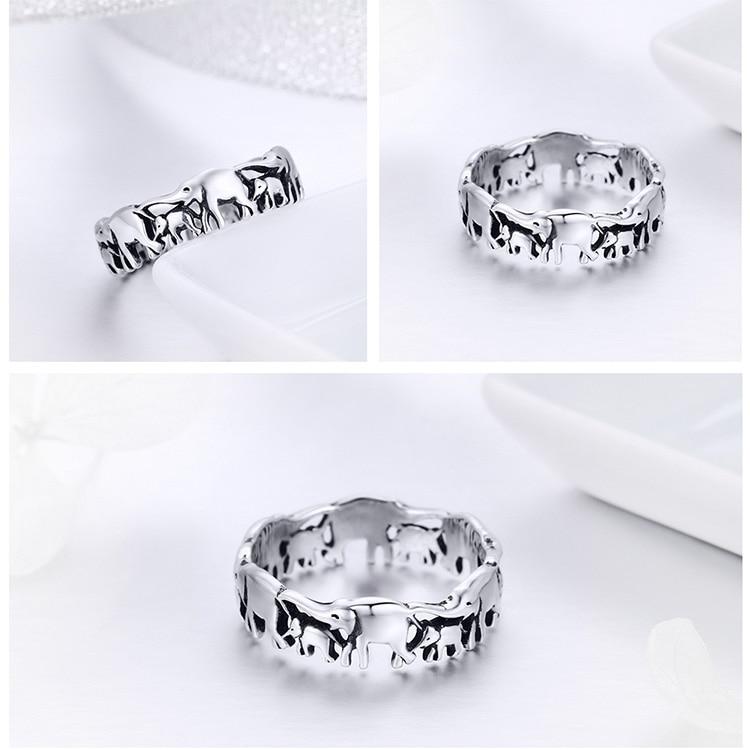 HTB1CZy2r9tYBeNjSspaq6yOOFXaG BISAER Original 2019 925 Sterling Silver Vintage Ethnic elephant Animal Stackable Women Finger Rings Vintage Silver Bague GXR344