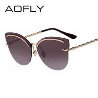 AOFLY Rimless Sunglasses Women Pink Mirror Reflective Sun Glasses Alloy Legs Elegant Style Glasses Original Design