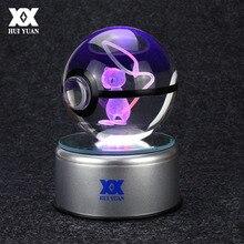 Pokemon Go Mew 3D Crystal Ball Lamp Desktop Decoration Glass Ball Night Light LED Colorful Rotate Base HUI YUAN Brand