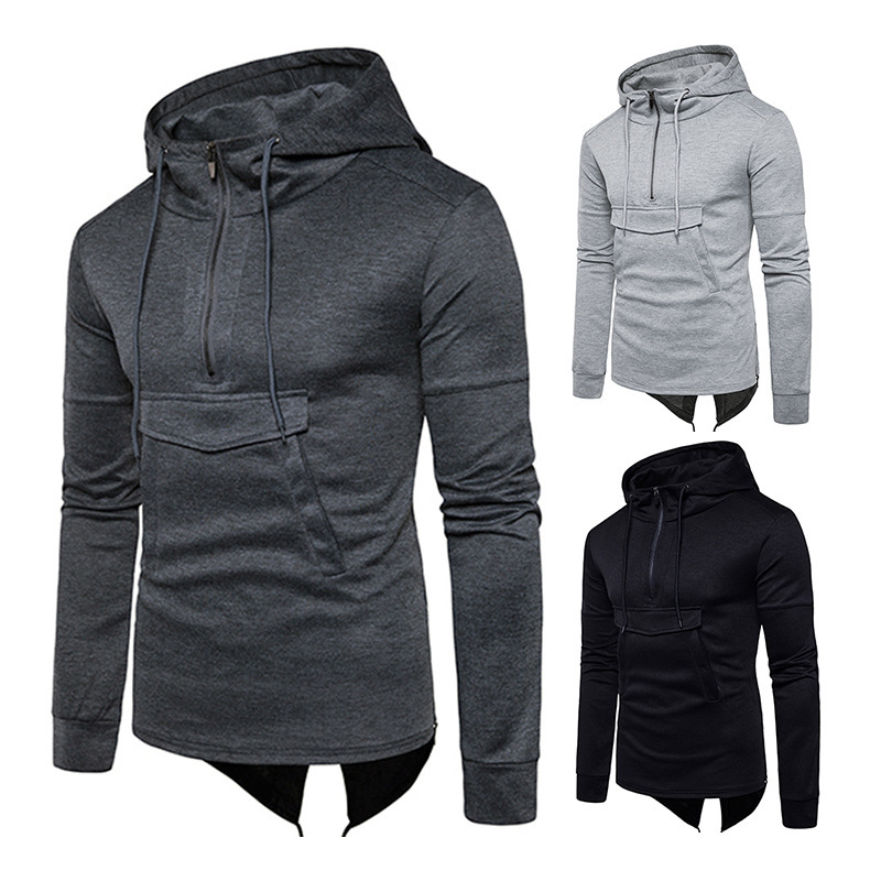 New Fashion Men Autumn Casual Hoodies Solid Color hooded Zipper Pullover Slim Fit  hoody sweatshirt