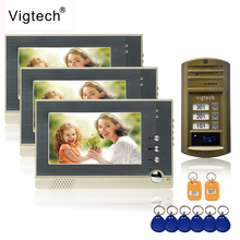 """Vigtech 7"""" color video door phone 3 monitors with 1 intercom doorbell can control 3 houses for multi apartment RFID Camera"""