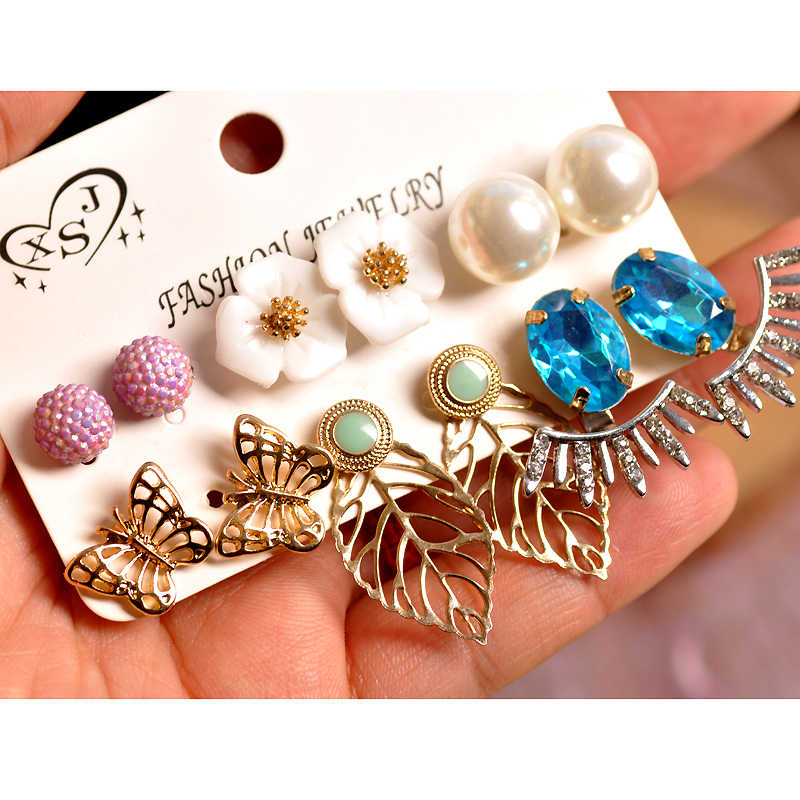 2019 New fashion women jewelry wholesale girls' party pearl stud mix-and-match 6 pairs /set gorgeous beautiful earrings gift