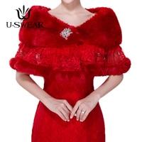 U SWEAR 2018 New Arrival Winter Women Red Wedding Jacket Bolero Wrap Plain Dyed Fur Cape Warm Women Short Cape For Wedding