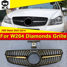 For Mercedes C Class w204 Black Chrome Sport C63 look Front grill Grille Diamonds C180 C200 250 grills With Borders 07-14