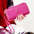 2016 Hot Fashion Women Wallets bag solid PU Leather Long Wallet clutch Change Purse Delicate black Lady Cash phone card Purse
