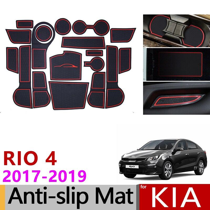 Para kia rio 4 x-line rio 2017 2018 2019 anti-deslizamento de borracha copo almofada porta groove esteira 18 pçs acessórios estilo do carro adesivos