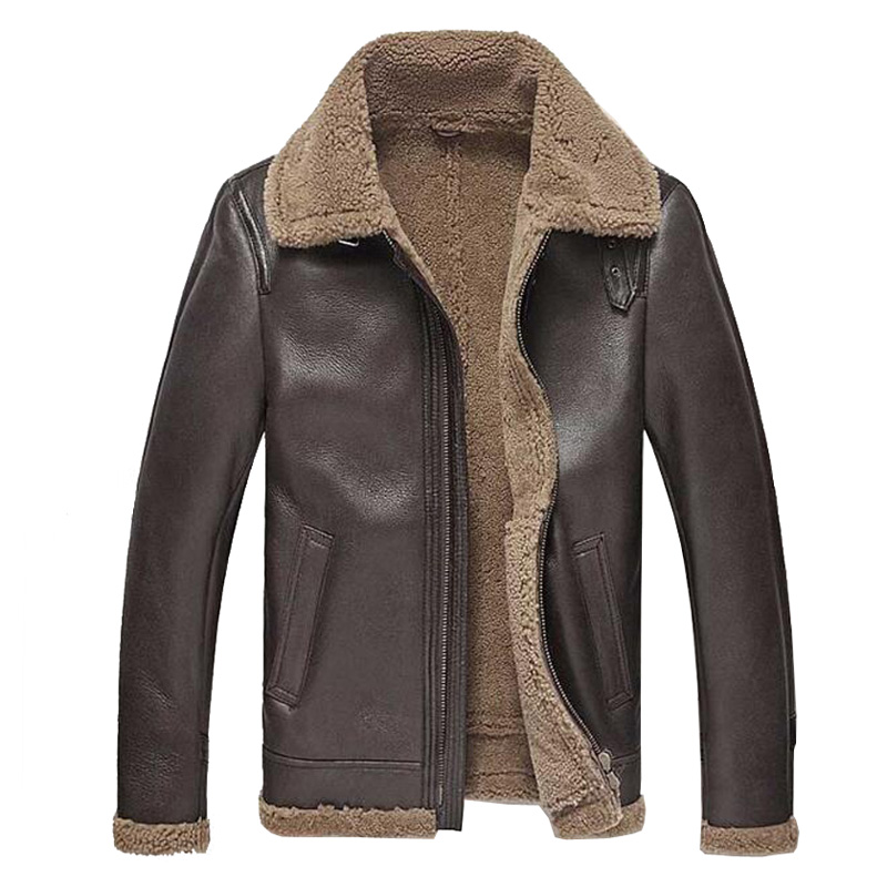 Mens Leather Jacket Men Shearling Jacket Sheepskin Outerwear Bomber Aviator Fur Coat Genuine Leather Mens Jacket Vintage TJ46