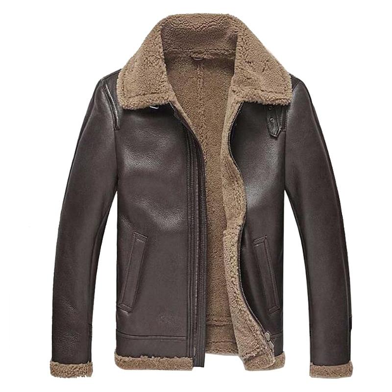 Mens Leather Jacket Men Shearling Jacket Sheepskin Outerwear Bomber Aviator Fur Coat Genuine Leather Mens Jacket Vintage TJ46