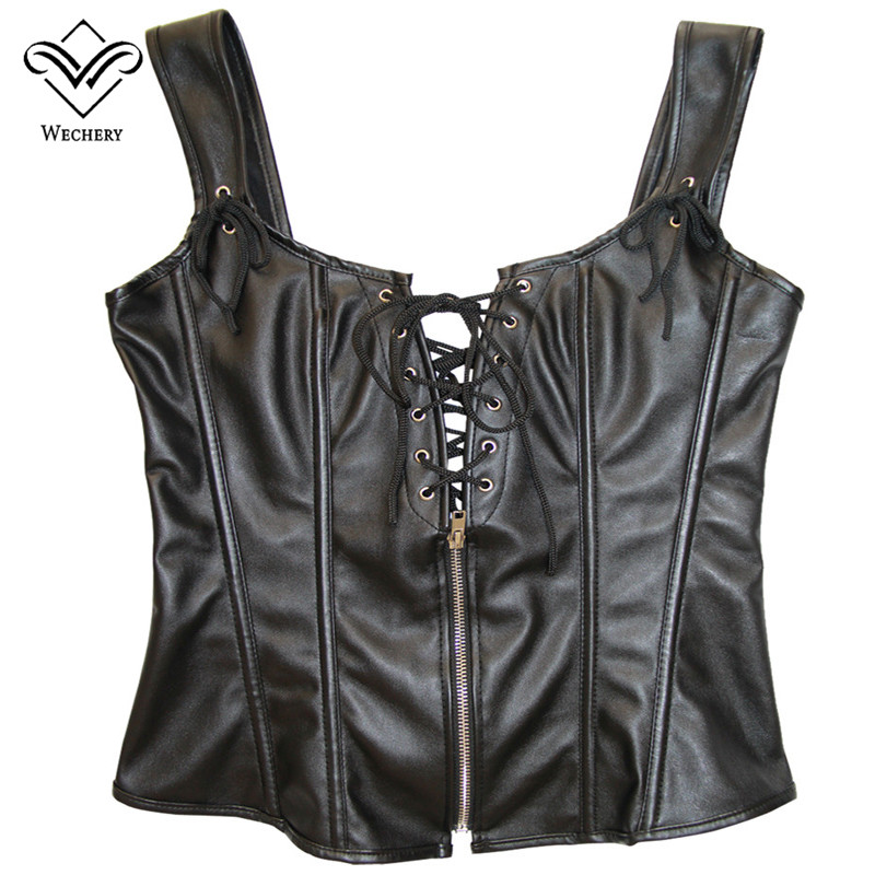 Image 5 - Wechery Leather Corset Steampunk Clothing Bustier Black Sexy Overbust Plus Size corse para mujer Corsets and Bustiers Shaperwear-in Bustiers & Corsets from Underwear & Sleepwears
