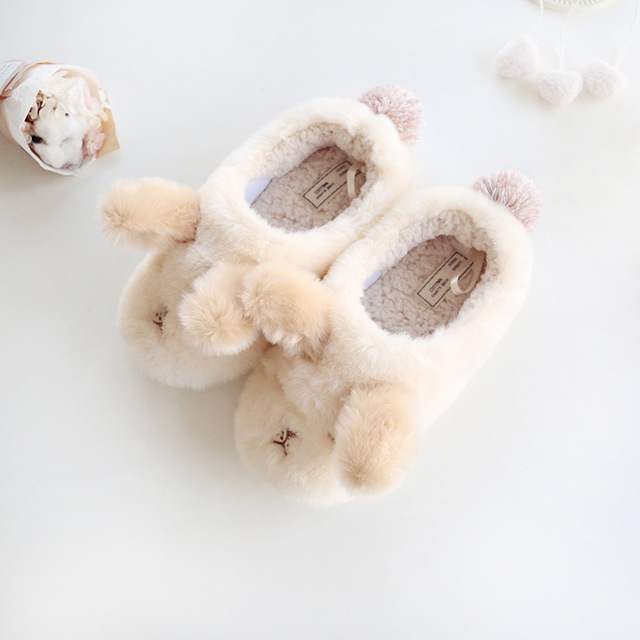 Dropshipping Winter Lovers Style Lovely Animal Plush Slippers for Home Men&Woman Shoes Dog Shape Slippers Soft Warm Fluffy Fits image