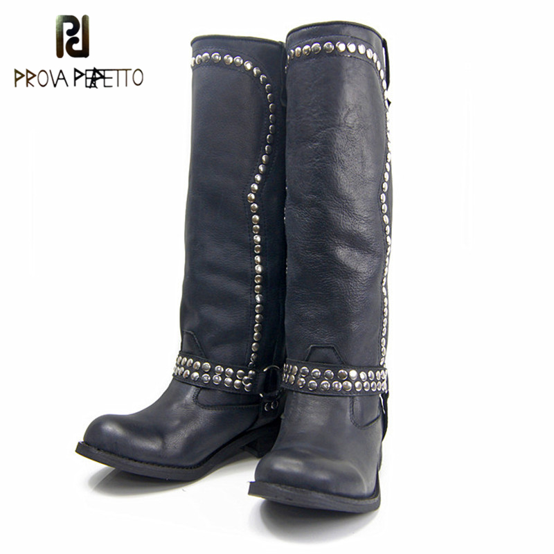 Prova Perfetto New Real Leather Rivets Booties Thick Heel Knee High Boots Studded Decorated Motorcycle Boots Woman Riding BootsProva Perfetto New Real Leather Rivets Booties Thick Heel Knee High Boots Studded Decorated Motorcycle Boots Woman Riding Boots