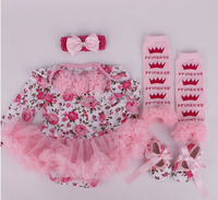 2014 Autumn Christmas Clothes Floral Newborn Baby Romper With Tutu Dress Head Band Shoes Leggings 4pcs